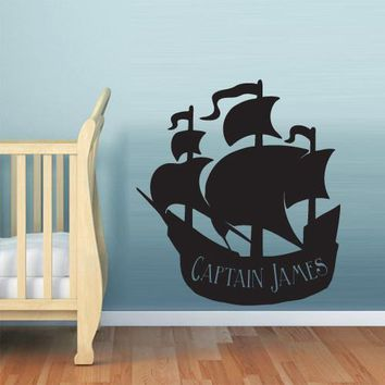 Wall Decal Vinyl Decal Sticker Nursery Kids Baby Ship Ocean Sea Pirate  z604