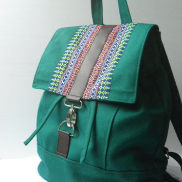 Green canvas and homespun Backpackhandmade bag by lalitathaicraft