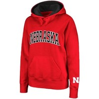 Nebraska Cornhuskers Women's Arched Name Pullover Hoodie - Scarlet