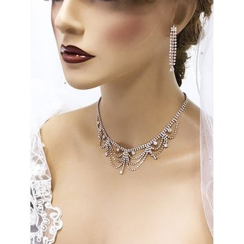 Victorian Choker Bridal Necklace and Earrings Jewelry Set