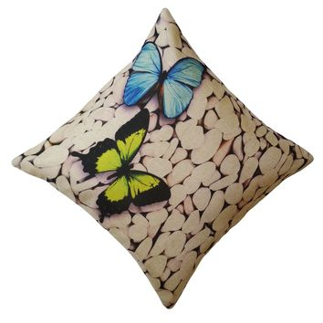 """16"""" x 16"""" with INSERT Decorative Throw Pillow Luxury Square Cushion for Couch Sofa Bedroom and Living Room Butterfly Pebbles Print Gifts for All"""