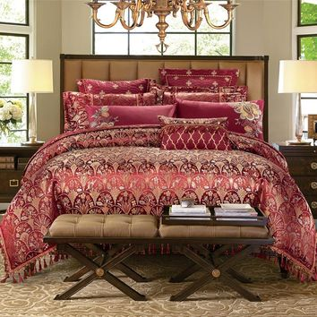 4/6/9 pieces King queen size Luxury Bedding set yarn home decorative bed duvet cover set tassels wedding bed sheet set gifts