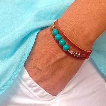Turquoise & Suede cuff bracelet, stacking bracelet, silver, gold, boho bracelet, arm candy, layering bracelet, leather