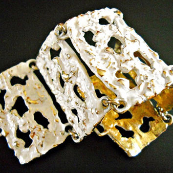 Napier Bracelet Modernist White Enamel Gold Plated Vintage Cut-Out Panel Links