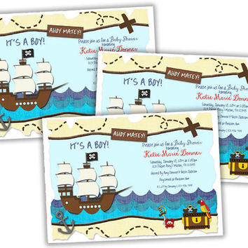 Pirate Baby Shower Invitations - Pirate Ship - Treasure Map Invitation - Boys Baby Shower Invites - Ahoy Matey - Its a Boy Baby Shower