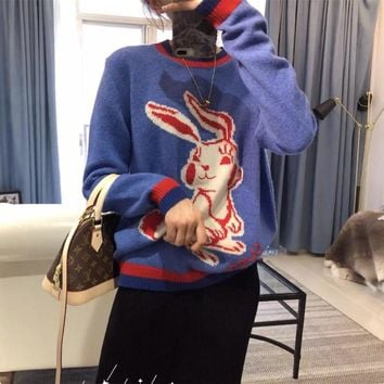 """Gucci"" Women Fashion Multicolor Stripe Rabbit Long Sleeve Knit Sweater Pullover Knitwear Tops"