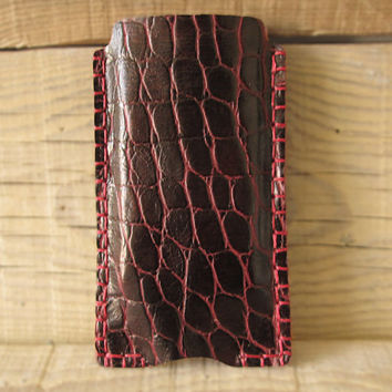Leather iphone 5 sleeve, oxblood leather iphone case, genuine leather, hand stitched phone sleeve, iphone slipcover, red leather iphone case