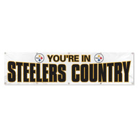 Pittsburgh Steelers NFL Giant 8' x 2' Banner You're in Steelers Country white