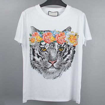 Fashion Women 3D printed tiger head flower pure cotton T-shirt