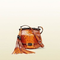NWT GUCCI WOMENS NOUVEAU PYTHON LEATHER SHOULDER BAG