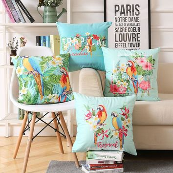 Tropical Paradise Cushion Cover Fabulous Colorful Hibiscus Flower Bird Parrot Plant Cushion Covers Two Sided Print Pillow Case