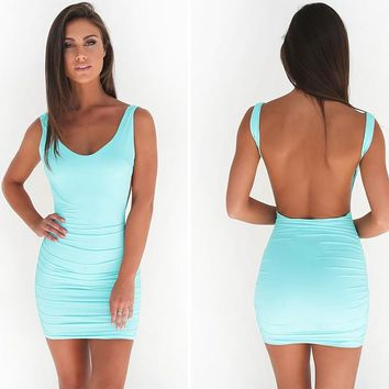 2018 Sexy Backless Spring and Summer Dress - Women's Dress
