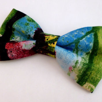 Painted bow tie, mens bow tie, graphic bow tie, spray paint bow tie, graffiti bow tie, clip on bow tie, colorful bow tie, artist bow tie