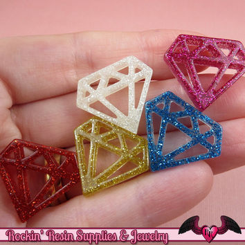 5pc DIAMONDS Glitter Flatback Decoden Kawaii Cabochons / Cellphone Deco 24x21mm