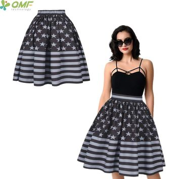 Vintage USA Flag Women Sports Skirt Flared Black Grey American United States Midi Tennis Skirts Pleated Swing Party Beach Skirts