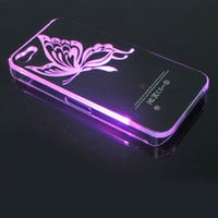 LED Butterfly Shining When Phone Call Nice Hard Cover Case ForIphone 5