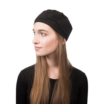 Pretty Beanie Hat with Bow Beret Tam