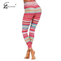 High Waist Push Up Legging Striped Print Lace Up Workout Leggings