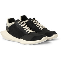Rick Owens - adidas Panelled Leather and Fabric Sneakers | MR PORTER