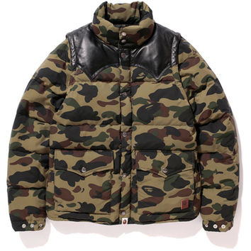 1ST CAMO DETACHABLE SLEEVE DOWN JACKET