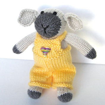 """Hand Knit Toy Lamb Stuffed Animal, Ready To Ship, Easter Lamb, Spring Knit Animal Kids Toy, Boy Girl Toddler Gift, Stuffed Toy Lamb 9"""" Tall"""