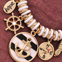 Anchor Charm Bracelet - White