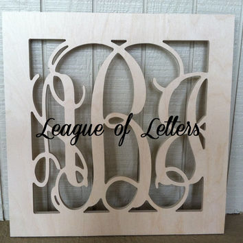 18 inch SQUARE BORDER Wooden Monogram Letters