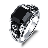 Man's titanium ring Black AAA zircon inlaid Dragon head domineering European and American punk ring -Size 11
