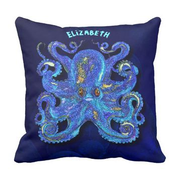 Psychedelic Colorful Blue Octopus With Brown Eyes Throw Pillow