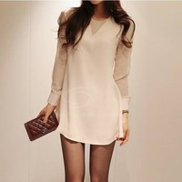 CLASSIC FEMININE WHITE CHIFFON SHEER LONG SLEEVE SHIRT DRESS