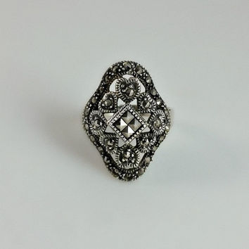 Marcasite Heart Cluster Ring - Vintage Maracsite Statement Ring Size 7.5 - Silver and Marcasite Encrusted Ring - Size 7 1/2