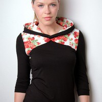 $59.00 hoodie shirt  black  flowers  satin bow by stadtkindpotsdam