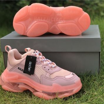 Balenciaga Triple S Clear Sole Light Pink Trainers Oversized Multimaterial Sneakers With Air Bubble Inside The Sole - Best Online Sale