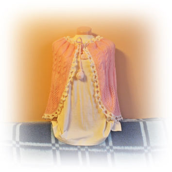 Pink Mohair Cape for girls, Cape for Princess, Flower Girl Cape, Christmas gifts, Christmas carnival costume, hand knitted