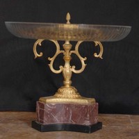 Canonbury - French Empire Cut Glass Plate Comport Dish Ormolu