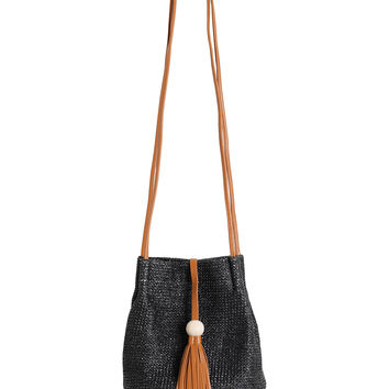 Black Straw Mini Bucket Bag