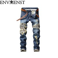 Envmenst 2018 Men Jeans Stretch Destroyed Pleated Ripped Design Fashion  Zipper Skinny Jeans For Men Casual Jeans Pants