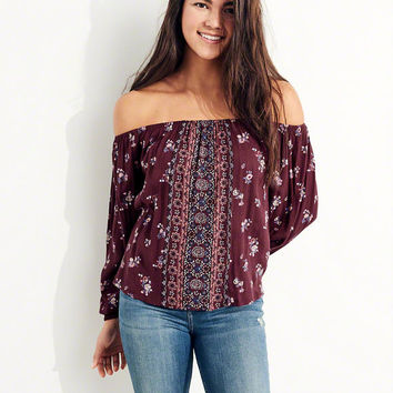 Girls Rayon Off-The-Shoulder Top | Girls Tops | HollisterCo.com