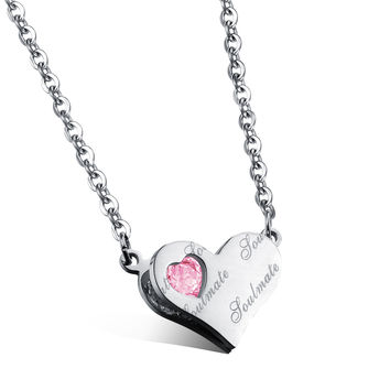 Stereo loving heart pendant Diamond clamped English Lady's flipped zircon rose gold necklace Titanium steel plating