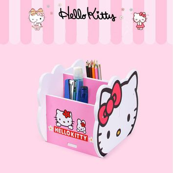 Hello Kitty Desktop Wooden Storage Box Remote Control/Ball Point Pen/Key/Comb Stationery Holder Receive A Case B53