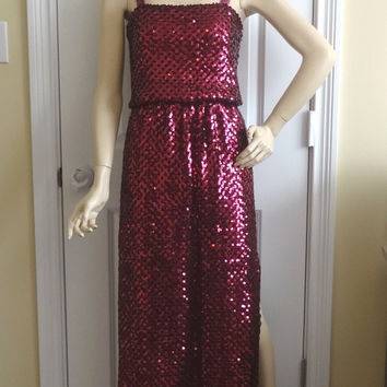 1970s Vintage Sequins Evening Dress in Wine by Lillie Rubin, Size 8, Disco Dress, Party Dress, Vintage Clothing, Vintage 1970s Sequins Dress