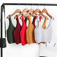 V-Neck Sleeveless Crop Tank Knitted Top