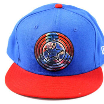 New Era Captain America Blue/Red Fitted Hat 7 1/2