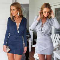 Knit Sexy Long Sleeve Package Hip Criss Cross Back Solid One Piece Dress a13086