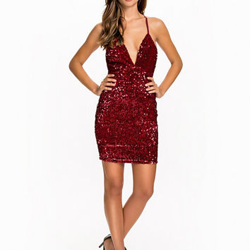 Deep V Sequin Dress, NLY One