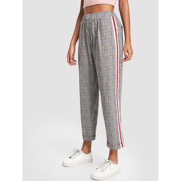 Striped Tape Side Plaid Pants