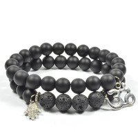 Indian Onyx and Lava Rock Hamsa
