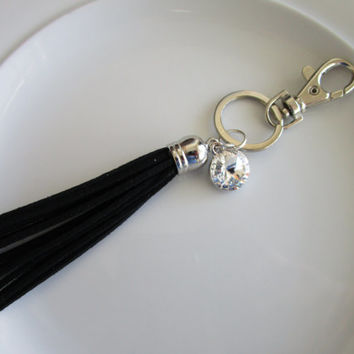 Swarovski crystal charm keychain with black suede leather tassel, crystal charm, key chain purse charm, leather key chain, tassel for key