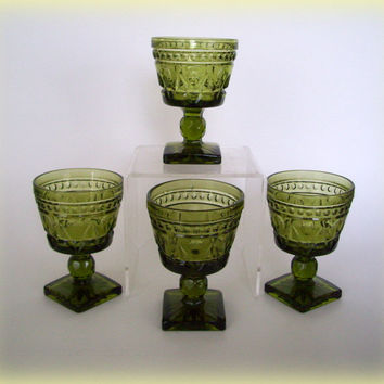 Vintage Indiana Glass Park Lane Green Goblets Colony Set of 4