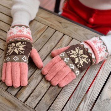 Knitted Gloves For Women Heart Snowflake